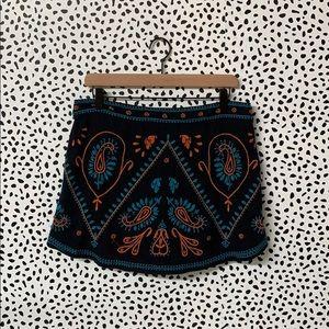Free People Embroidered Mini Skirt